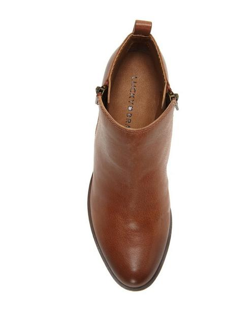 BASEL FLAT LEATHER BOOTIE, TOFFEE