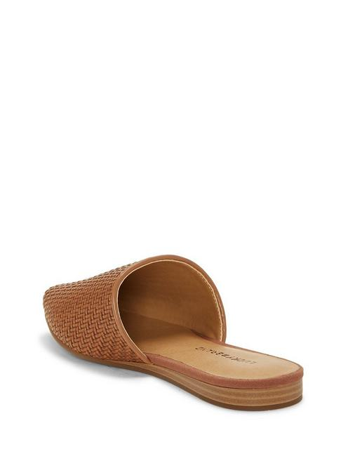 BRADELL LEATHER SLIDE, LIGHT BROWN