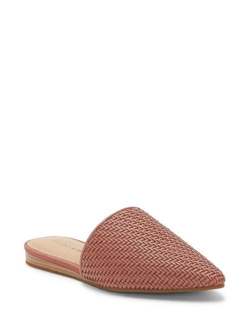 BRADELL LEATHER SLIDE, LIGHT PINK
