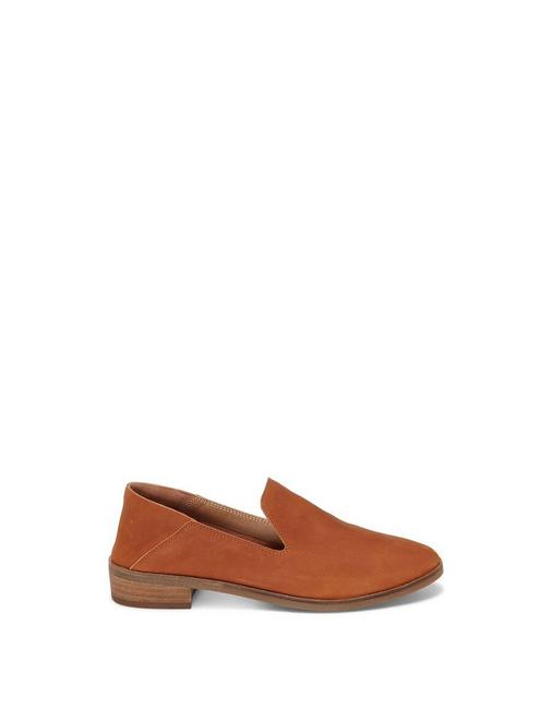 CAHILL LEATHER FLAT, OPEN BROWN/RUST