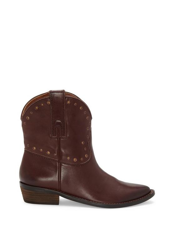 CHANTEL LEATHER BOOTIE, DARK BROWN, productTileDesktop