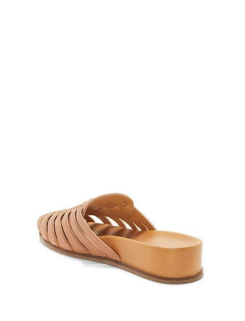 DOERID LEATHER FLAT SLIDES, MEDIUM DARK BEIGE