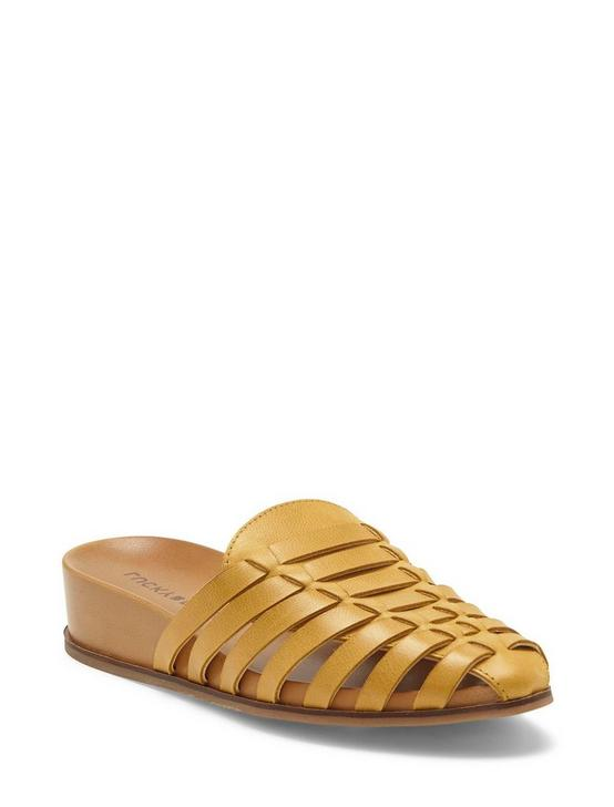 DOERID LEATHER FLAT SLIDES, LIGHT YELLOW, productTileDesktop