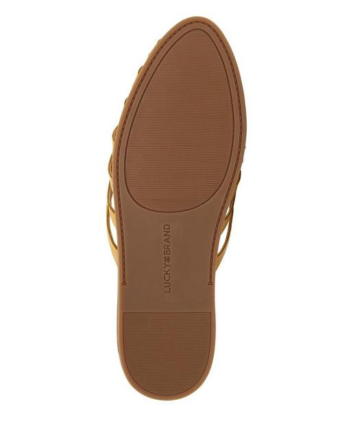 DOERID LEATHER FLAT SLIDES, LIGHT YELLOW