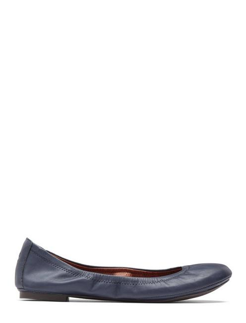 EMMIE LEATHER FLATS, NAVY
