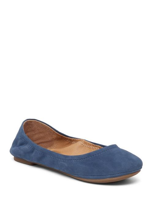 EMMIE LEATHER FLATS, DARK CHAMBRAY