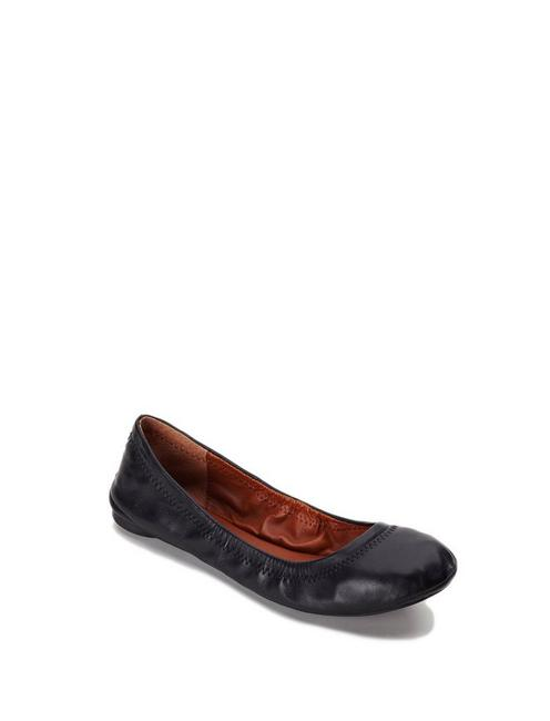 EMMIE LEATHER FLATS, BLACK