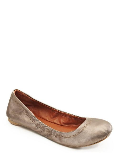 EMMIE LEATHER FLATS, SILVER