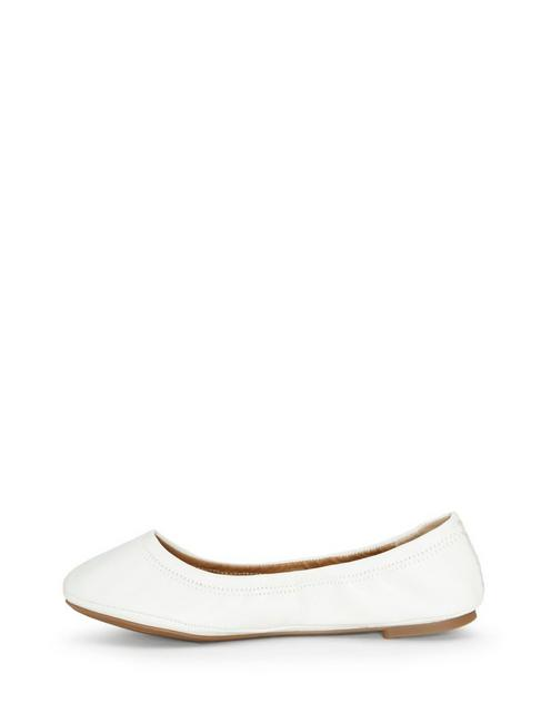 EMMIE LEATHER FLATS, OPEN WHITE/NATURAL