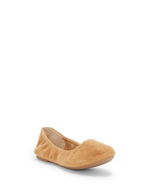 EMMIE LEATHER FLATS, MEDIUM BROWN