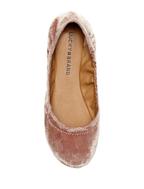 EMMIE LEATHER FLATS, BLUSH VELVET