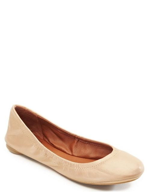 EMMIE LEATHER FLATS, MEDIUM BEIGE