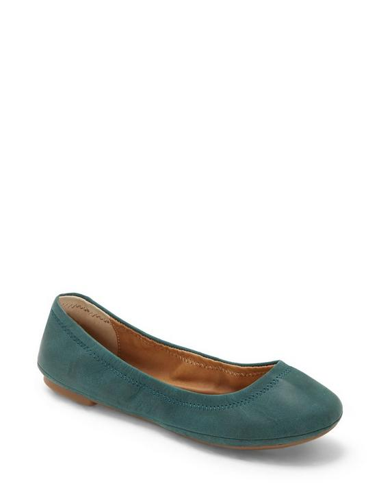 EMMIE LEATHER FLATS, MEDIUM GREEN, productTileDesktop
