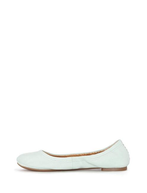 EMMIE LEATHER FLATS, SLIT GREEN