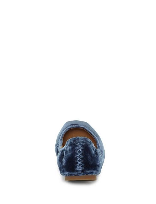 EMMIE LEATHER FLATS, BLUE VELVET