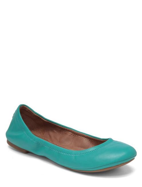 EMMIE LEATHER FLATS, MEDIUM LIGHT GREEN