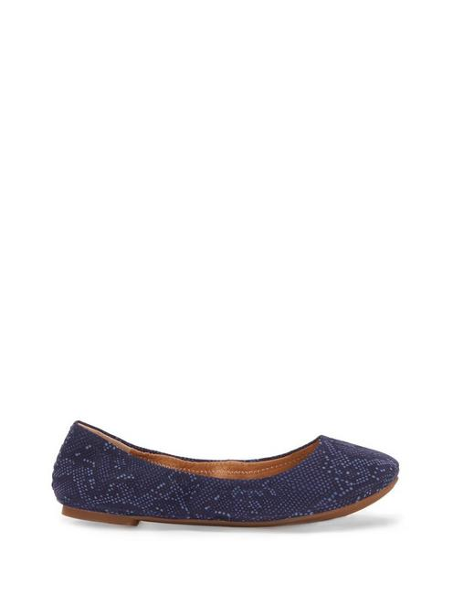EMMIE LEATHER FLATS, BLUE SNAKE