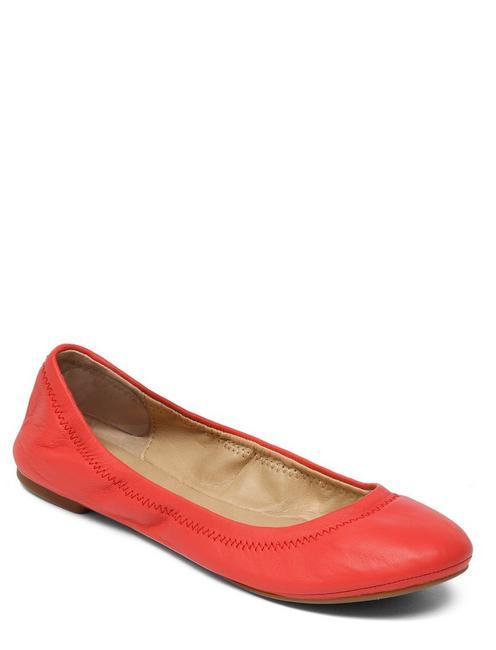 EMMIE LEATHER FLATS, OPEN RED