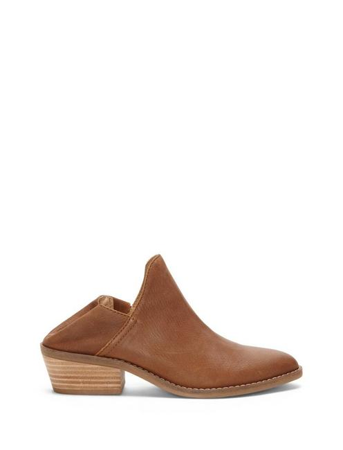 FAUSST LEATHER BOOTIE, OPEN BROWN/RUST