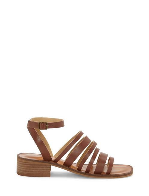 FIROLA LEATHER SANDAL, DARK BROWN