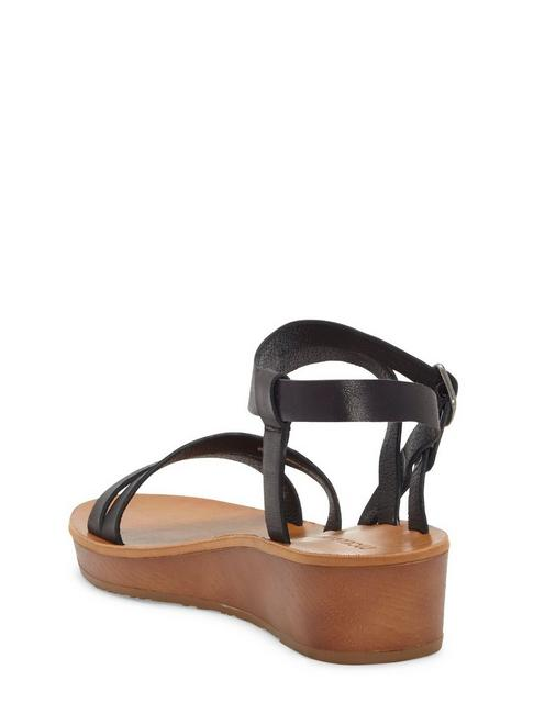 HECILIA LEATHER WEDGE, BLACK