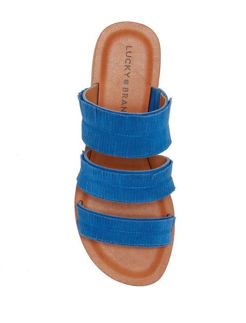 HEGEN LEATHER SLIDE SANDAL, OPEN BLUE/TURQUOISE