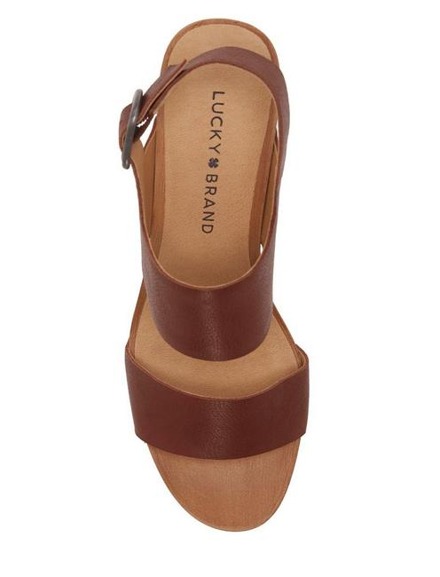 HEMZI WOOD HEEL, DARK BROWN