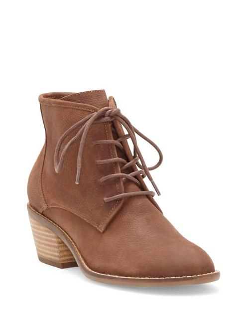 IDRIL LEATHER BOOTIE, DARK BROWN