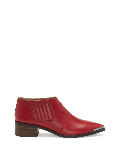 KALBAH LEATHER BOOTIE, DARK RED