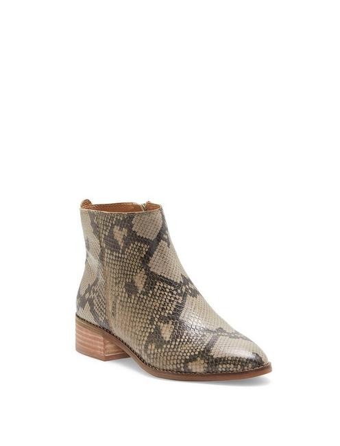LENREE LEATHER BOOTIE, LIGHT GREY