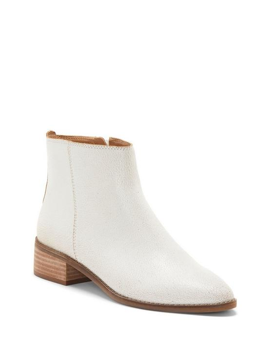 LENREE LEATHER BOOTIE, WHITE, productTileDesktop