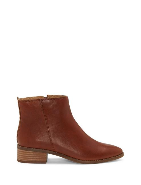 LENREE LEATHER BOOTIE, DARK BROWN
