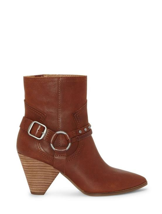 MAJOKO LEATHER BOOTIE, DARK BROWN, productTileDesktop
