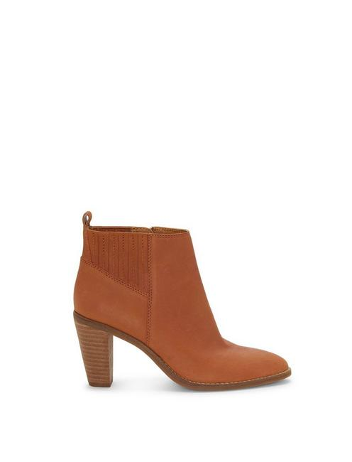 NESLEY LEATHER BOOTIE, DARK BROWN