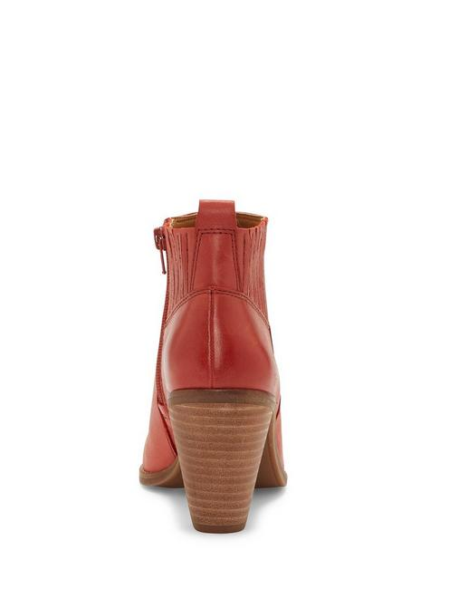 NESLEY LEATHER BOOTIE, LIGHT RED