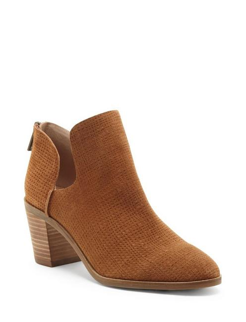 POWE LEATHER BOOTIE, OPEN BROWN/RUST