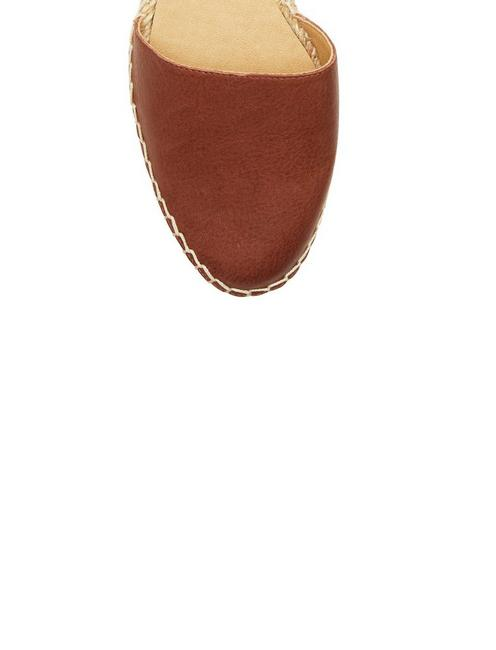 RENIYA LEATHER ESPADRILLE FLAT, DARK BROWN