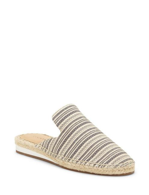 REVEA CANVAS ESPADRILLE FLAT SLIDES, OPEN WHITE/NATURAL