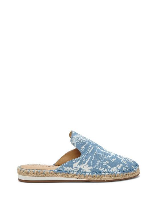 REVEA CANVAS ESPADRILLE FLAT SLIDES, OPEN BLUE/TURQUOISE, productTileDesktop