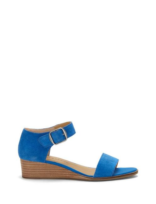 RIAMSEE SUEDE WEDGE, OPEN BLUE/TURQUOISE