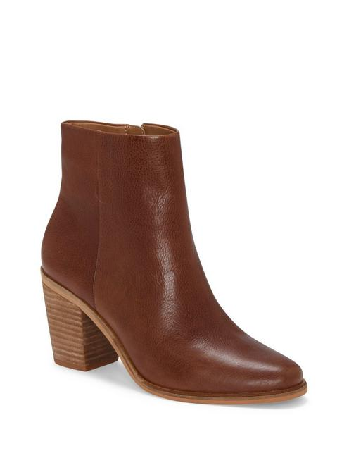 RYLAH LEATHER BOOTIE, MEDIUM DARK BROWN
