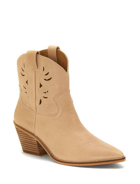 TALOUSE WESTERN LEATHER BOOTIE, MEDIUM DARK BEIGE, productTileDesktop