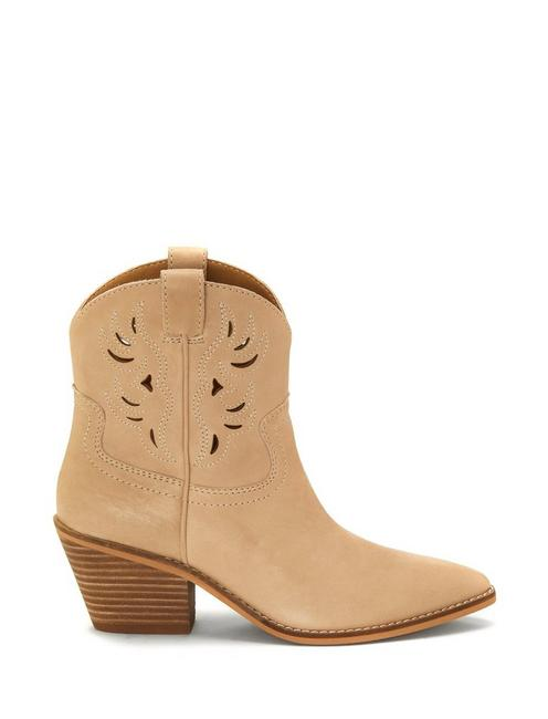 TALOUSE WESTERN LEATHER BOOTIE, MEDIUM DARK BEIGE