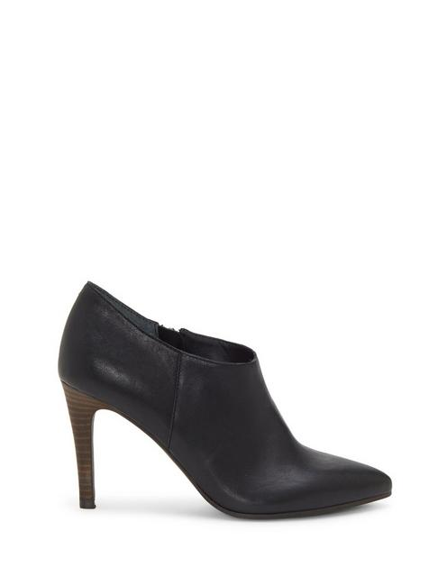 TIRAE LEATHER HEEL, BLACK