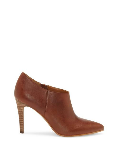 TIRAE LEATHER HEEL, DARK BROWN