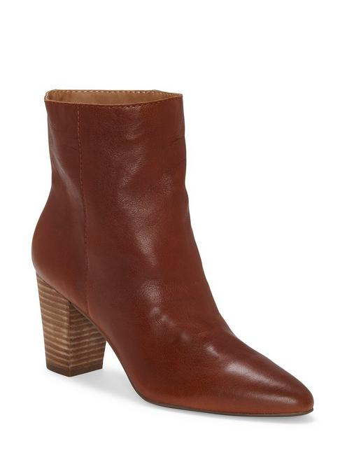 YUBAL LEATHER BOOTIE, DARK BROWN