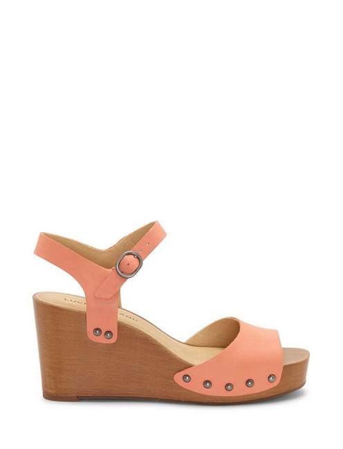ZASHTI LEATHER WEDGE, OPEN ORANGE