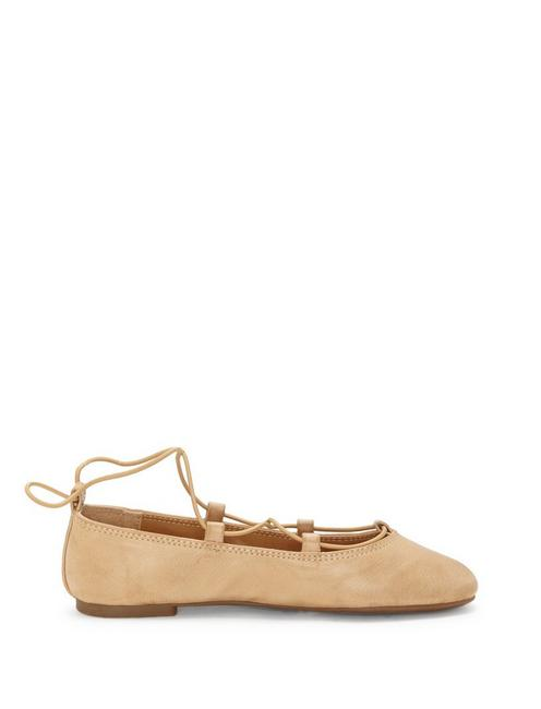 GIRLS 11-5 EVIEE FLAT, MEDIUM BEIGE