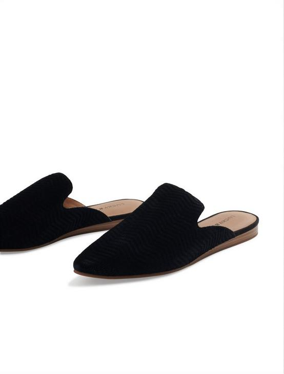 BRYNNUH LEATHER FLAT SLIDES, BLACK, productTileDesktop