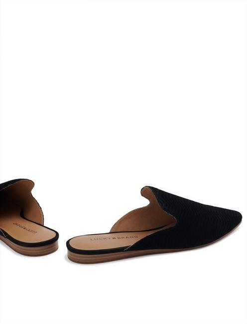 BRYNNUH LEATHER FLAT SLIDES, BLACK